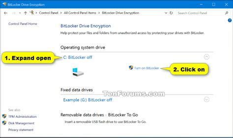 bitlocker tutorial windows 10 turn on or off bitlocker for operating system drive in