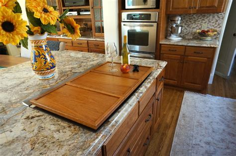 custom cherry cooktop cover traditional kitchen - Cover For Induction Cooktop