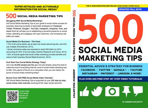 500 social media marketing tips essential advice hints and strategy for business instagram linkedin and more books best books for photography business advice