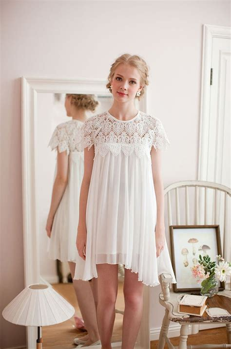 white swing dress wedding beautiful in white swing dress with lace top wedding