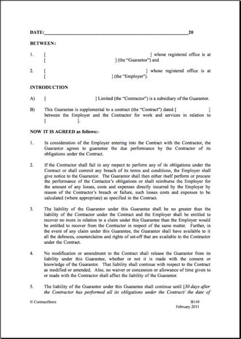 parent company guarantee template contractstore parental agreement contract real state