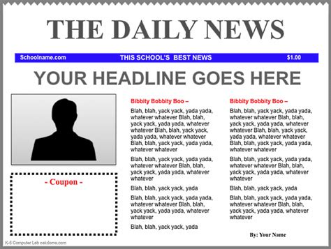 newspaper article template keynote newspaper templates k 5 computer lab