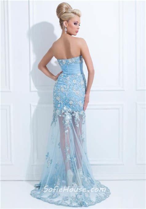 light blue tulle skirt flared mermaid strapless long light blue tulle floral