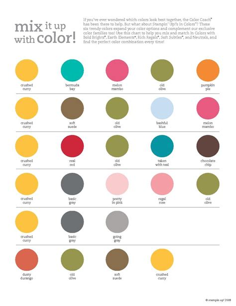 color up stin up 2009 2010 in color combinations chart