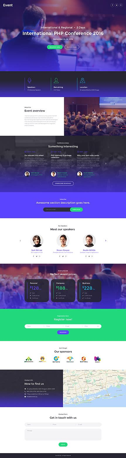 Purple And Blue Websites Are In Entheos Event Landing Page Template Free