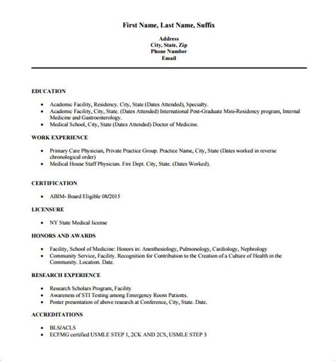 Resume Usa Exle by Doctor Resume Templates 15 Free Sles Exles