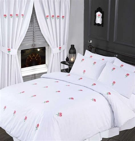 White Cot Bed Duvet Cover White Amp Pink Colour Stylish Embroidered Floral Duvet Cover