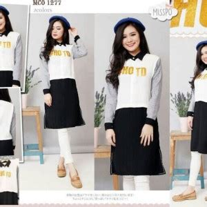 Dress Tunik Putih Navy baju blouse wanita cantik modis model terbaru murah