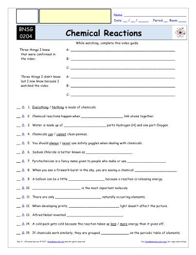 Bill Nye Chemical Reactions Worksheet by Bill Nye Chemical Reactions Worksheet Photos Dropwin