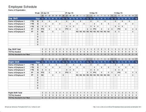 templates for employers the employee schedule template from vertex42