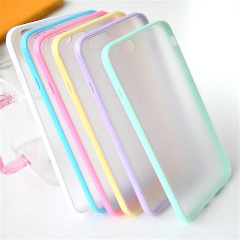Daiso For Iphone 6 6s 7 Hardcase Clear Black fashion slim colorful tpu frame clear for iphone 6 6s 4 7 transparent matte phone back