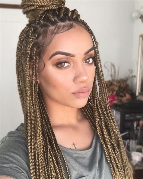 Large Black And Blond Braids | brown blonde box braids m a n e pinterest blonde box