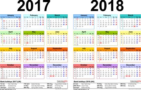 Calendar 2018 Year To View Two Year Calendars For 2017 2018 Uk For Excel