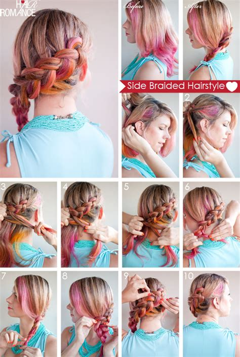 how to braid short hair step by step hair how to side braided hairstyle tutorial hair romance