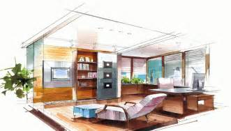 interior design course from home hand drawing office with leisure chair interior design
