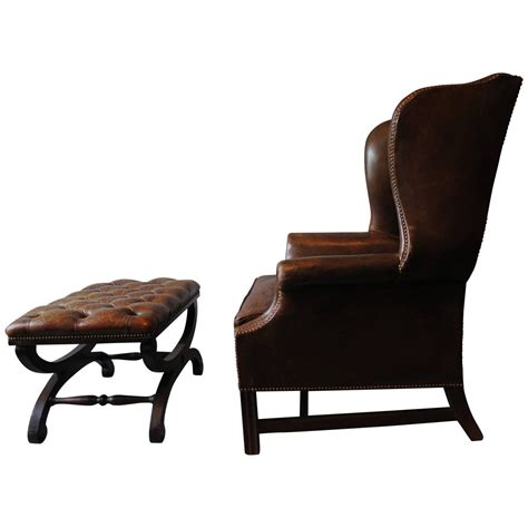 Chesterfield Wing Armchair by Brown Leather Chesterfield Wingback Armchair With Ottoman For Sale At 1stdibs
