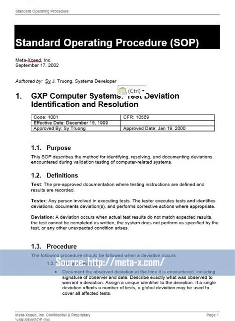 40 Professional Standard Operating Procedures Templates In Word Demplates It Standard Operating Procedure Template