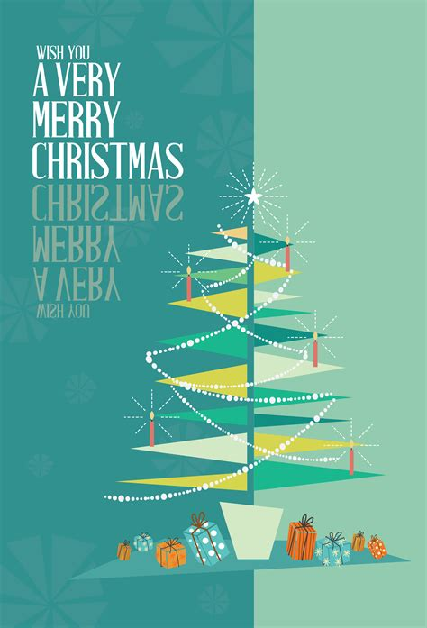 abstract merry christmas greeting card mid century mod christmas   vectors