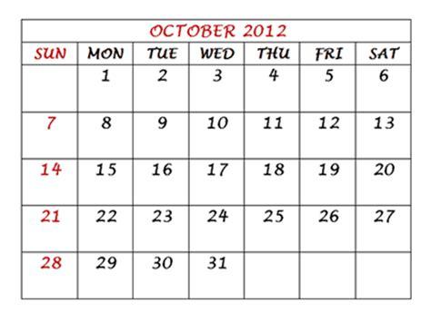 October 2012 Calendar Calendar 2012 Free Printable October Calendar 2012