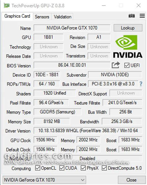 zotac geforce gtx 1070 founders edition graphics card