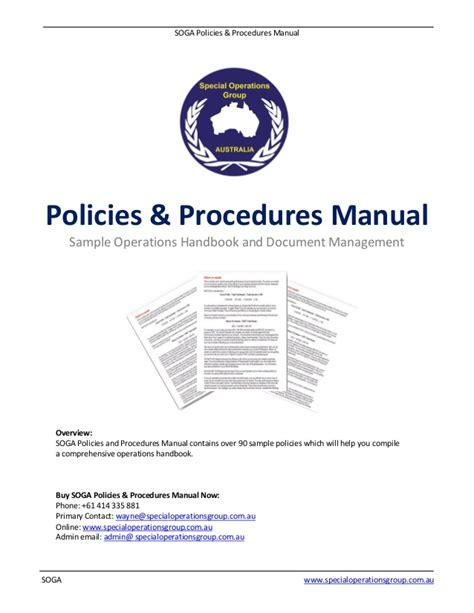 Insurance Agency Procedure Manual Template Soga Policies Procedures Manual Software Sle