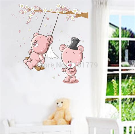 Wallsticker Jm 7151 new removable large size vinyl wall stickers teddy swing room decor wall decals