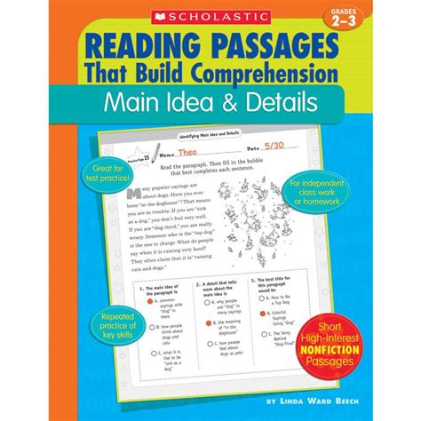 details books reading passages idea and details book grades 2 3
