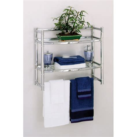 Zenith Wall Shelf With 2 Glass Shelves Chrome Finish Walmart Bathroom Shelves