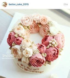 Wreath Style Korean Buttercream nana cake wreath style arrangement tulip ranunculus peony korean buttercream flower cake