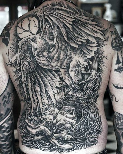 amazing back tattoos 40 owl back designs for cool bird ink ideas