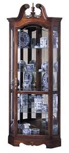 Curio Cabinets Lights Cherry Corner Curio Cabinet Beveled Glass Interior