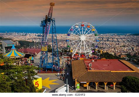theme park in barcelona tibidabo amusement park stock photos tibidabo amusement