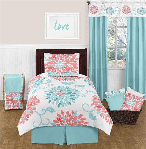 cheap teen bedding twin floral turquoise coral bedding set for teen girl