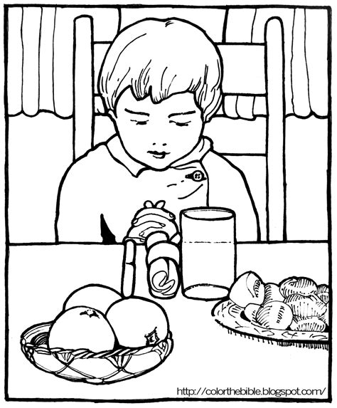 thank you god for food coloring page pray before eating color the bible