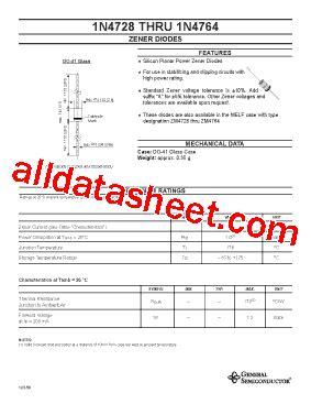general semiconductor zener diode 1n4744 datasheet pdf general semiconductor