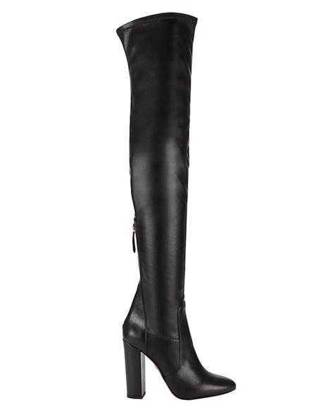 aquazzura thigh high stretch leather boot black shop