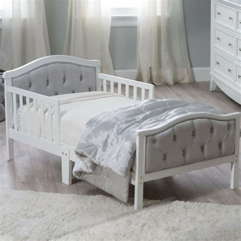 Toddler Bed by Modern Toddler Bed White Gray Tufted Bedroom Crib