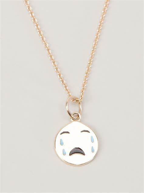 baby necklace alison lou small cry baby necklace in metallic lyst
