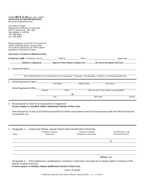 template for articles of incorporation articles of incorporation illinois free