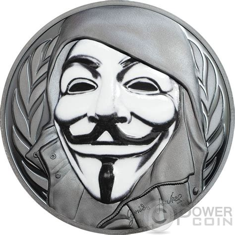 V In The Silver Mask fawkes mask anonymous v for vendetta 1 oz silver coin