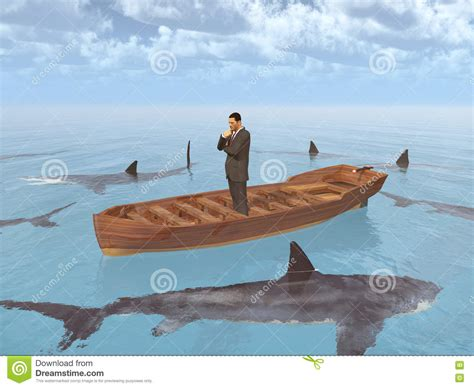 sinking boat surrounded by sharks businessman in a boat surrounded by sharks stock