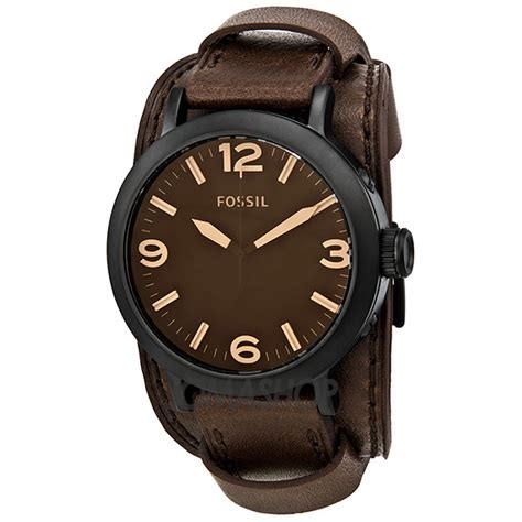fossil clyde brown brown leather cuff mens
