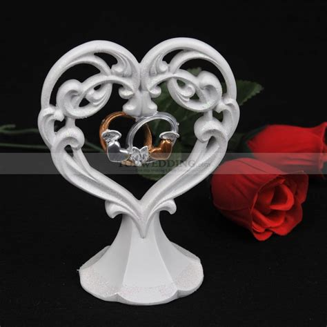 Ivory Porcelain Heart Shaped Wedding Cake Topper with Rings