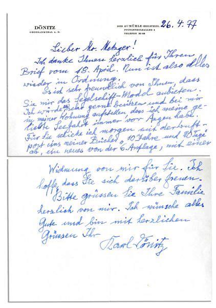 Gift Accompanying Letter lot detail karl donitz autograph letter accompanying