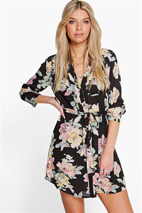Shirt Dress Floral boohoo womens floral shirt dress ebay