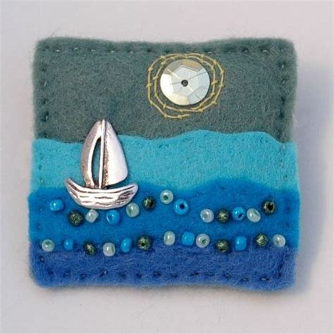 sailing boat brooch hand sewn sailing boat brooch www elliestreasures co uk