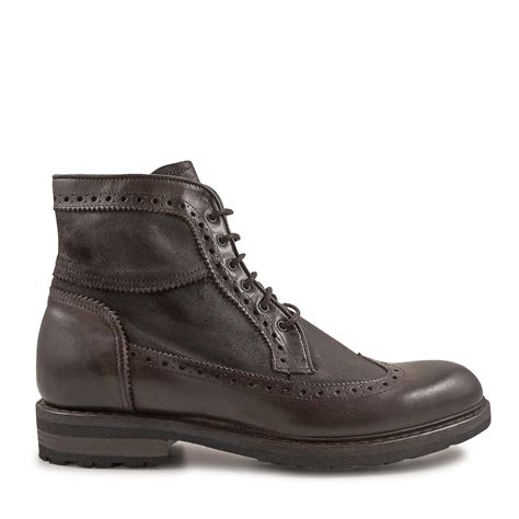 Handmade Mens Boots - handmade s wingtip boots in vintage chocolate leather