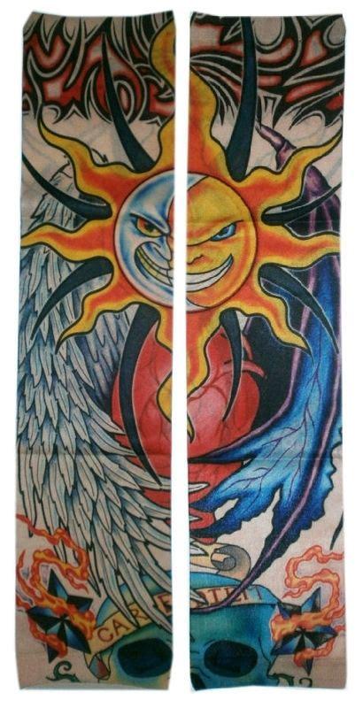 tattoo arm zon tattoo sleeve zon maan en doodskop tattoo sleeve
