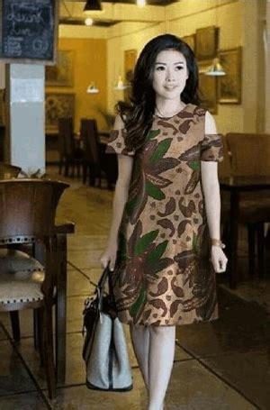 baju mini dress pendek fashion wanita motif batik bahu