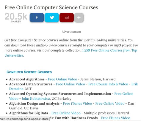 Mba Computer Science Subjects by Open Culture Te Ofrece La Oportunidad De Aprender Y El